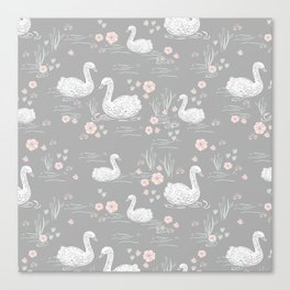 Swans painting cute girly trend cell phone case with swans pattern florals hand painted Canvas Print