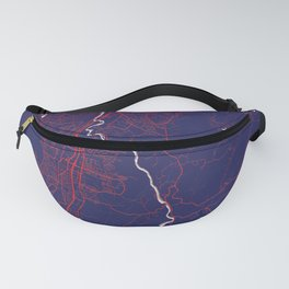 Trondheim, Norway, Blue, White, City, Map Fanny Pack