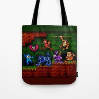 megaman Tote Bags featuring Megaman Woodman by likelikes