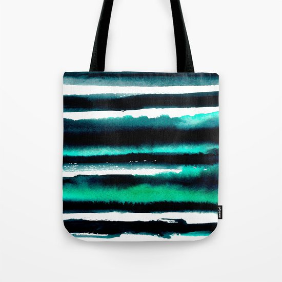 Abstract green and black painting Tote Bag