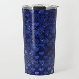 Pretty Blue Faux Foil Hearts Pattern Travel Mug