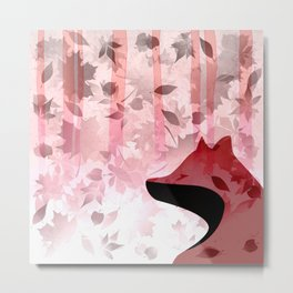 Fox In Falling Leaves Unique Design Metal Print