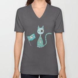Sweet Blue Pirate Cat Unisex V-Neck