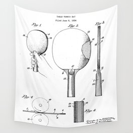 Table Tennis Patent - Tennis Paddle Art - Black And White Wall Tapestry