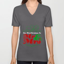 Cute First Christmas As Mr. & Mrs. Newlyweds Unisex V-Neck