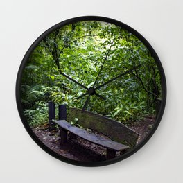 Wood Bench in the Middle of the Rainforest on the Mombacho Volcano in Nicaragua Wall Clock