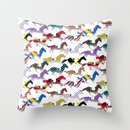 Off to the Horse Races Jockey Silk Pattern Throw Pillow