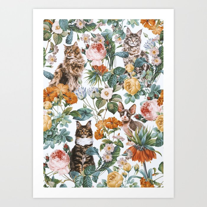 Cat and Floral Pattern III Art Print