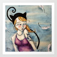 sparrow Art Prints featuring Sparrow by Allison Weeks Thomas