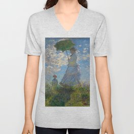 """Claude Monet """"Woman with a Parasol - Madame Monet and Her Son"""" Unisex V-Neck"""