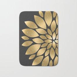 Pretty gold faux glitter abstract flower illustration Bath Mat