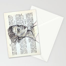 Female Doodle on Asian Text 2 Stationery Cards