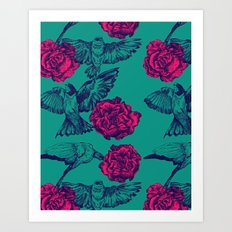 Rose & Swallows Art Print
