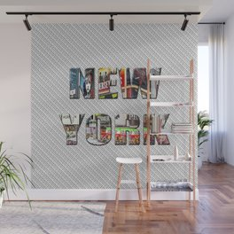 New York (color type on mono) Wall Mural