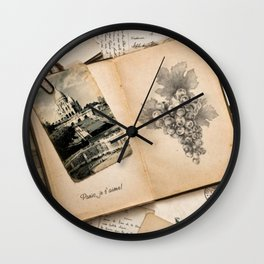 Vintage Paris France Travel Memories Wall Clock