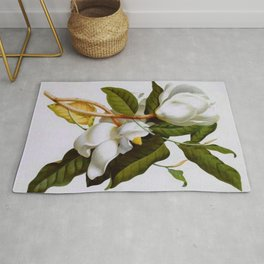 Vintage Botanical White Magnolia Flower Art Rug