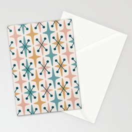 Mid Century Modern Abstract Star Pattern 221 Turquoise Ochre Dusty Rose and Teal Stationery Cards