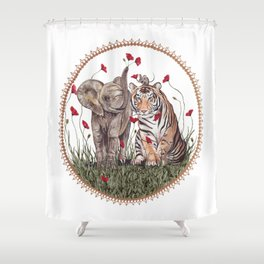 Tiger, Baby Elephant, and Mouse Playing in Poppies Shower Curtain