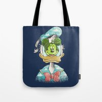 magritte Tote Bags featuring duck magritte by Alan Maia