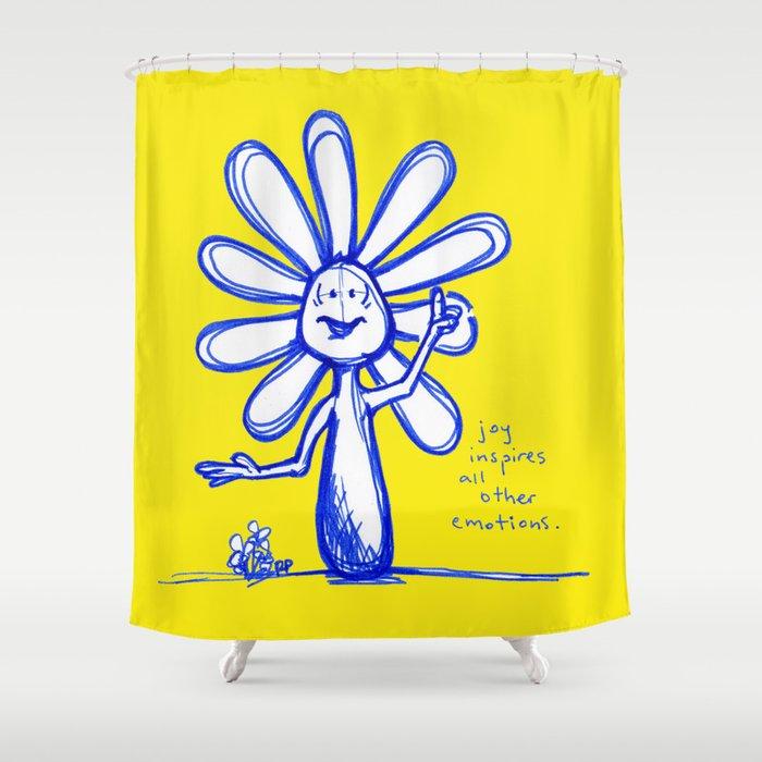 """Joy Inspires All Other Emotions"" Flowerkid Shower Curtain"