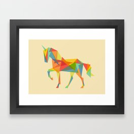 Fractal Geometric Unicorn Framed Art Print