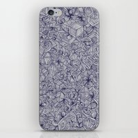 bedding iPhone & iPod Skins featuring Held Together - a pattern of navy blue doodles by micklyn