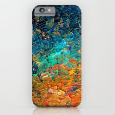 ETERNAL TIDE 2 Rainbow Ombre Ocean Waves Abstract Acrylic Painting Summer Colorful Beach Blue Orange Slim Case iPhone 6s