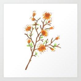 Orange Flower Branch Art Print