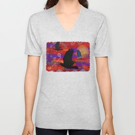 Sunset on Lake Wendouree - Australian Aboriginal Art Theme Unisex V-Neck