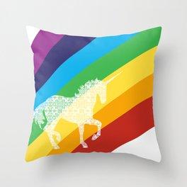Unicorn on rainbow art Throw Pillow