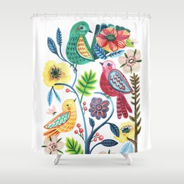Whimsical Watercolor Birdies Shower Curtain