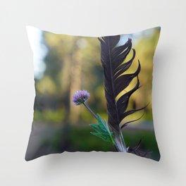 Raven Feather Throw Pillow