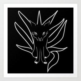 Nine Tailed Fox BNW Art Print