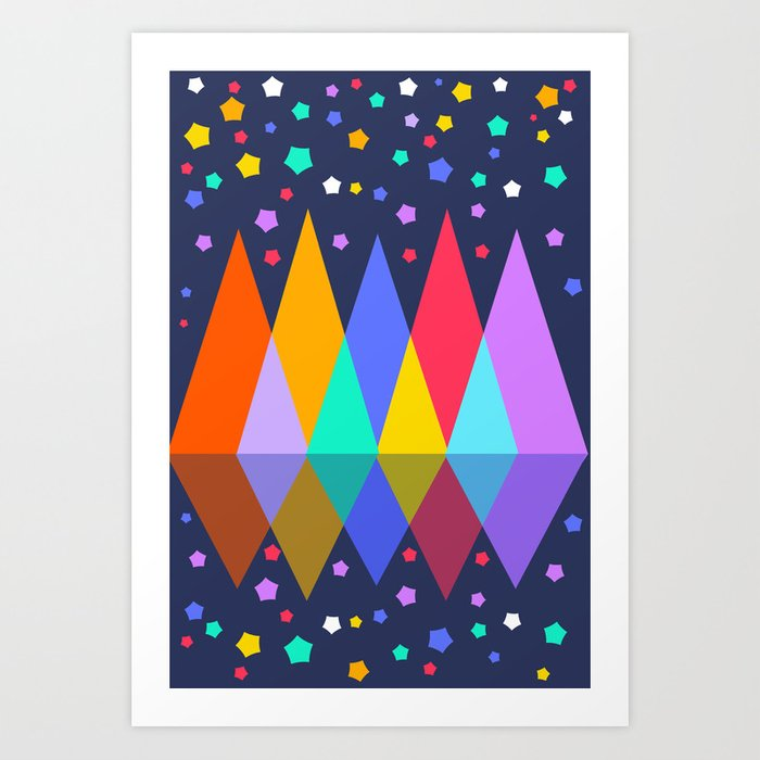 Mountains at night Art Print