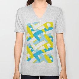 Blue & Yellow Patterns Unisex V-Neck