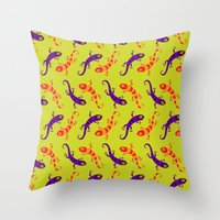 lizard Throw Pillows featuring Lizard by DanBee Kim