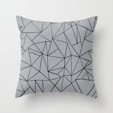 Ab Dotted Lines B on Grey Throw Pillow