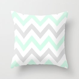 WASHED OUT CHEVRON (MINT & GRAY) Throw Pillow