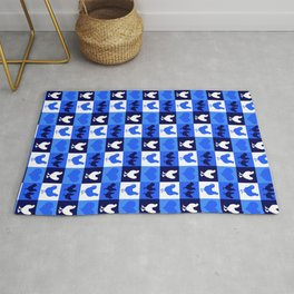 Blue and White American Chickens Gingham Rug