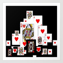 RED CASINO COURT PLAYING CARDS IN BLACK Art Print