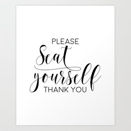 Please Seat Yourself, Bathroom Sign, Printable Art, Bathroom Wall Decor, Art, Funny Bathroom Art Art Print
