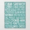 Cuban Sandwich Word Food Art Poster (Teal) by miguezart