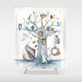 Panda Let's Play! Shower Curtain