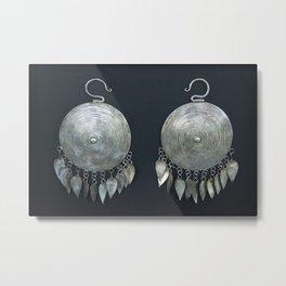 Mongolian silver earrings Metal Print