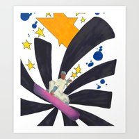 snowboard Art Prints featuring Snowboard Illustration by Crooked Walker