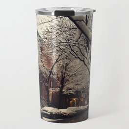 Photo of the beautiful Brooklyn Heights covered in icy snow Travel Mug