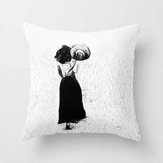 Woman with hat in hand Throw Pillow