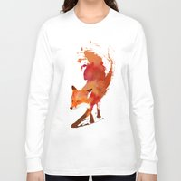art deco Long Sleeve T-shirts featuring Vulpes vulpes by Robert Farkas