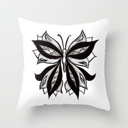Abstract Butterfly Stipple Shaded Ink Drawing Throw Pillow
