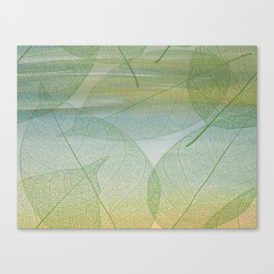 Delicate Painterly Leaves Canvas Print